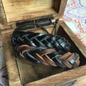 NWOT Set Of 2 Leather Braided Bracelets